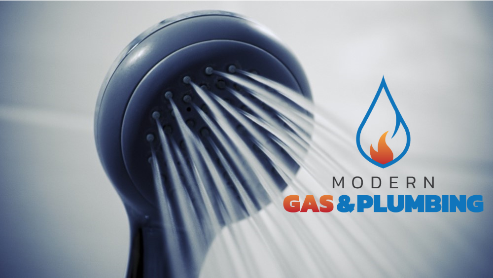 Modern Gas and Plumbing shower head flowing