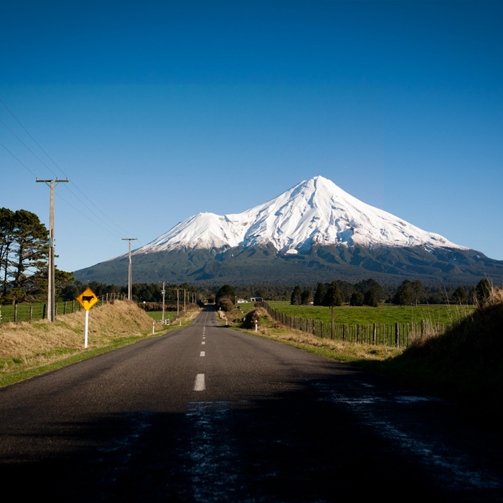Mt Taranaki with road in foreground