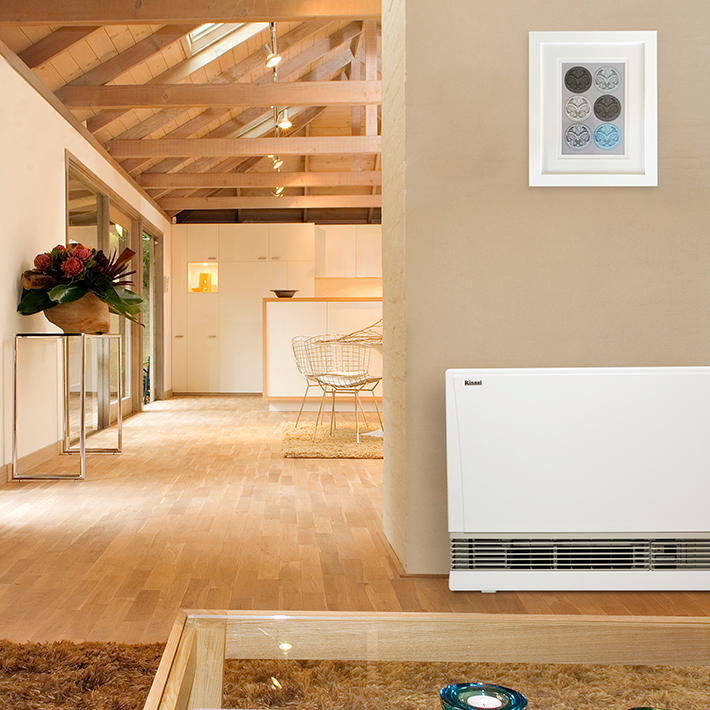 Flued gas space heater in home